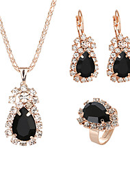 cheap -Women's Crystal Drop Earrings Pendant Necklace Bridal Jewelry Sets Classic Classic Elegant Rhinestone Earrings Jewelry Red / Green / Blue For Wedding Ceremony Festival 4pcs / pack / Open Ring