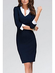 cheap -Women's 2020 Work Basic Bodycon Dress - Solid Color Basic V Neck Spring & Summer Blue S M L XL