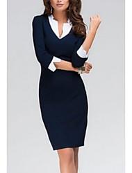 cheap -Women's 2020 Blue Dress Basic Spring & Summer Work Bodycon Solid Color V Neck Basic S M