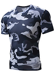 cheap -Men's Compression Shirt Short Sleeve Compression Base layer T Shirt Top Plus Size Lightweight Breathable Quick Dry Soft Sweat-wicking Camouflage Road Bike Mountain Bike MTB Basketball High Elasticity