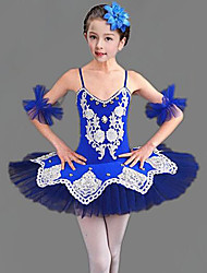 cheap -Kids' Dancewear Ballet Dress Split Joint Crystals / Rhinestones Girls' Training Performance Sleeveless Mesh Polyester