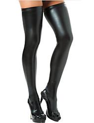 Недорогие -Жен. Тонкая ткань Супер секси Чулки - Однотонный 30D Черный Серебряный Красный Один размер