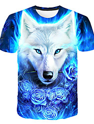 cheap -Men's Daily Club Basic / Street chic T-shirt - 3D / Animal Wolf, Print Round Neck Blue / Short Sleeve