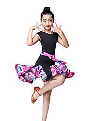 cheap -Latin Dance / Kids' Dancewear Dresses Girls' Performance Nylon Pattern / Print / Ruching / Split Joint Sleeveless High Dress