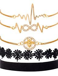 cheap -5pcs Women's Vintage Bracelet Earrings / Bracelet Classic Casual / Sporty Fashion Cute Elegant Rhinestone Bracelet Jewelry Gold For Daily School Street Going out Festival