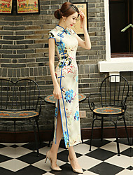 cheap -Adults' Women's Designed in China Chinese Style Wasp-Waisted Chinese Style Cheongsam Qipao For Performance Engagement Party Bridal Shower Polyster Long Length Cheongsam