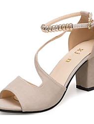 cheap -Women's Heels Open Toe Beading Leatherette Basic Pump Summer Green / Black / Beige / EU39