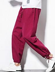 cheap -Men's Chinoiserie Slim Harem Pants - Solid Colored Black Gray Wine XXXL XXXXL XXXXXL