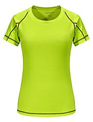 cheap -Women's Hiking Tee shirt Short Sleeve Outdoor Breathable Fast Dry Tee / T-shirt Top Spring Summer Terylene Polyester Taffeta Crew Neck Fuchsia Green Blue Casual Tennis Camping / Micro-elastic