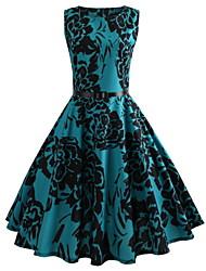 cheap -Women's Blue Dress Basic Vintage A Line Swing Floral Print S M Slim