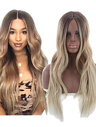 cheap -Synthetic Wig Body Wave Middle Part Wig Ombre Long Medium Brown / Bleached Blonde Synthetic Hair 24INCH Women's Adjustable Heat Resistant Party Ombre