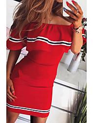 cheap -Women's Bodycon Dress - Short Sleeve Off Shoulder Slim Black Red Yellow Blushing Pink S M L XL