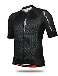cheap -Mountainpeak Men's Short Sleeve Cycling Jersey Black Plaid / Checkered Plus Size Bike Jersey Top Mountain Bike MTB Road Bike Cycling Breathable Quick Dry Sports Clothing Apparel / Stretchy