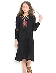 cheap -Kids Girls' Cute Solid Colored Long Sleeve Knee-length Dress Black