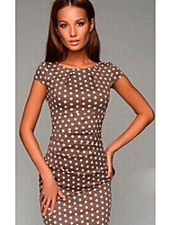 cheap -Women's 2020 Brown Dress Basic Spring & Summer Sheath Polka Dot Print S M Slim
