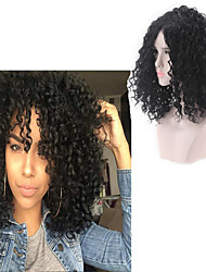 cheap -Synthetic Wig Afro Curly Free Part Wig Medium Length Black#1B Synthetic Hair 18INCH Women's Odor Free Adjustable Heat Resistant Black
