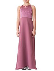 cheap -Sheath / Column Jewel Neck Floor Length Satin Junior Bridesmaid Dress with Ruching by LAN TING BRIDE®