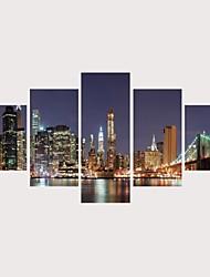 Недорогие -С картинкой Роликовые холсты Отпечатки на холсте - Домики Архитектура Современный Modern 5 панелей Репродукции