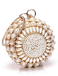 cheap -Women's Bags Alloy Evening Bag Pearls Crystals Floral Print Wedding Bags Party Event / Party Daily Gold Silver
