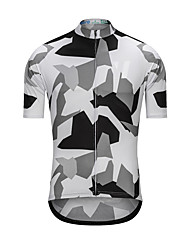 cheap -Men's Short Sleeve Cycling Jersey White Camo / Camouflage Bike Jersey Top Sports Terylene Clothing Apparel / High Elasticity