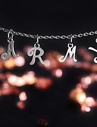 Недорогие -Жен. Ожерелья с подвесками Буквы Простой Мода Первоначальные ювелирные изделия Нержавеющая сталь Серебряный 45+5 cm Ожерелье Бижутерия 1шт Назначение Повседневные Офис и карьера