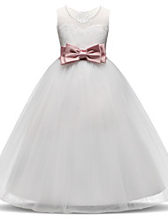 cheap -Princess Long Length Flower Girl Dress - Lace / Tulle Sleeveless Jewel Neck with Beading / Bow(s) / Lace / First Communion