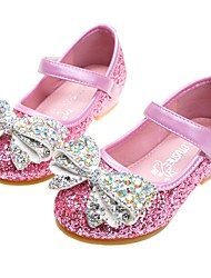 cheap -Girls' Flats Comfort Flower Girl Shoes Halloween PU Little Kids(4-7ys) Wedding Party & Evening Bowknot Sparkling Glitter Blue Pink Silver Spring Fall / Rubber / TPR (Thermoplastic Rubber)