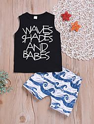 cheap -Baby Boys' Active / Basic Striped / Print Print Sleeveless Regular Regular Cotton Clothing Set Black / Toddler