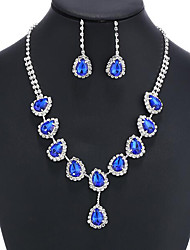 cheap -Sapphire Crystal Citrine Jewelry Set Pendant Necklace Tassel Pear Cut Ladies Party Fashion Elegant Colorful fancy Cubic Zirconia Imitation Diamond Earrings Jewelry Gold / Green / Blue For Wedding
