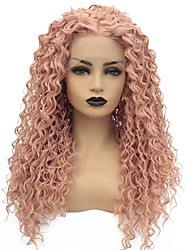 cheap -Synthetic Lace Front Wig Curly Middle Part Lace Front Wig Pink Long Rose Gold Synthetic Hair 22-26 inch Women's Heat Resistant Women Middle Part Pink / African American Wig / Glueless