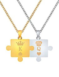 cheap -Men's Women's Pendant Necklace Monogram Crown Relationship Simple Unique Design Fashion Chrome Golden+Silver 47+5 cm Necklace Jewelry 2pcs For Daily Graduation Going out Birthday