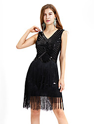 cheap -The Great Gatsby Charleston Vintage 1920s Summer Flapper Dress Party Costume Masquerade Women's Sequins Tassel Sequin Costume Black / White / Beige Vintage Cosplay Party Prom Dress Sleeveless Above