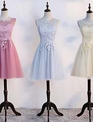 cheap -A-Line Illusion Neck Short / Mini Tulle Bridesmaid Dress with Lace