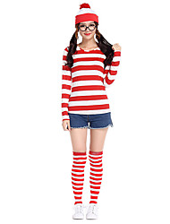cheap -Where's Wally Cosplay Costume Hat Socks / Long Stockings Adults' Women's Hat Halloween Halloween Masquerade Festival / Holiday Cotton Red Carnival Costumes Stripes