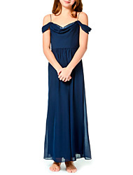 cheap -A-Line Spaghetti Strap Ankle Length Chiffon Junior Bridesmaid Dress with Pleats