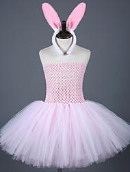 cheap -Rabbit Mascot Easter Bunny Dress Ears Headband Kid's Girls' Cartoon Easter Festival / Holiday Nylon Tactel White / Pink Carnival Costumes Patchwork
