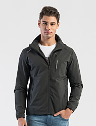 cheap -DZRZVD® Men's Hiking Skin Jacket Hiking Jacket Outdoor Solid Color Windproof Sunscreen Breathable Quick Dry Hoodie Top Single Slider Outdoor Exercise Winter Sports Black / Blue / Grey
