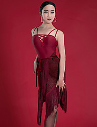 cheap -Latin Dance Dresses Women's Performance Spandex Ruching / Tassel Sleeveless Dress