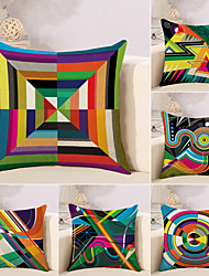 cheap -6 pcs Cotton / Linen Pillow Case, Striped Lines / Waves Geometic Abstract
