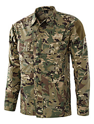 cheap -Men's Camo Hiking Shirt / Button Down Shirts Long Sleeve Outdoor Breathable Quick Dry Softness Wear Resistance Shirt Top Autumn / Fall Spring Cotton Army Green Dark Navy Hunting Fishing Cycling / Bike