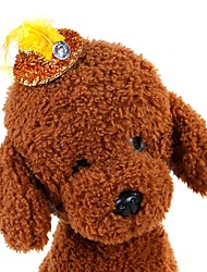 cheap -Dogs Cats Ornaments Holiday Decorations Hair Accessories Dog Clothes Yellow Red Blue Costume Pug Bichon Frise Schnauzer Down Sequin Character Tiaras & Crowns Halloween Christmas