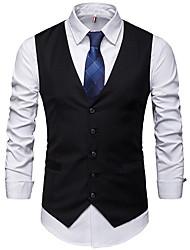 cheap -Men's Daily Regular Vest, Solid Colored V Neck Sleeveless Polyester Black / Gray