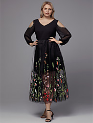 cheap -A-Line Plus Size Black Holiday Cocktail Party Dress V Neck 3/4 Length Sleeve Tea Length Tulle with Beading Appliques 2020