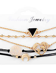 cheap -Women's Loom Bracelet Pendant Bracelet Rope Moon Heart Casual / Sporty Fashion Cord Bracelet Jewelry Gold For Daily Going out Office & Career