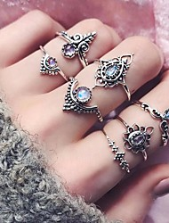 cheap -Women's Ring Ring Set Midi Rings 7pcs Silver EVA Resin Alloy Round Vintage Fashion Boho Party Birthday Jewelry Hollow Out Flower Crown Lucky Cool