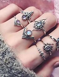 cheap -Ring Hollow Out Silver EVA Resin Alloy Flower Crown Lucky Vintage Fashion Boho 7pcs 5 8 / Women's / Ring Set