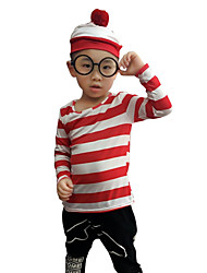 cheap -Where's Wally Cosplay Costume Hat Kid's Boys' Hat Halloween Halloween Masquerade Festival / Holiday Cotton Red Carnival Costumes Stripes