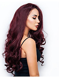 cheap -Synthetic Wig Curly Middle Part Wig Burgundy Very Long Dark Red Synthetic Hair 34 inch Women's Women Burgundy