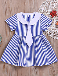 cheap -Baby Girls' Basic / Street chic Striped Pleated Short Sleeve Above Knee Cotton Dress Light Blue / Toddler