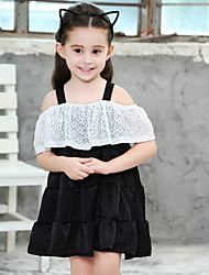 cheap -Kids Girls' Color Block Patchwork Dress Black